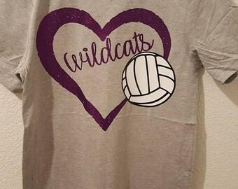 Wildcats Shirt|Volleyball Shirt|Womens Shirt|Custom Shirt|School Spirit Shirt|Glitter Shirt
