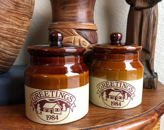1984 stoneware jar / stoneware / ceramic jar / cannisters / jars