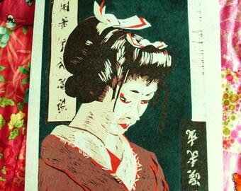 Geisha-Woodcut Wood printing original print on Japan paper Art
