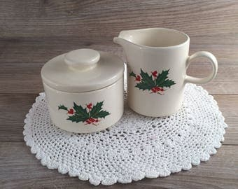 Vintage Christmas Ceramic Sugar Bowl and Creamer w/ mistletoe made in USA / Mother's gift / Christmas Decor / Christmas Gift