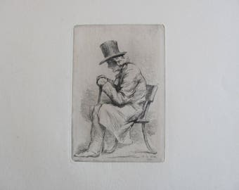 "Adrien de Witte (1850-1935): ""Old man sitting"" [etching and dry point, 1876."