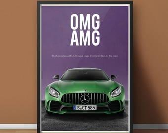 PRINT: omg amg / Mercedes-AMG GT Coupé / Motorsport Car Poster Artwork