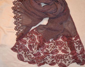 Maroon Lace Scarf
