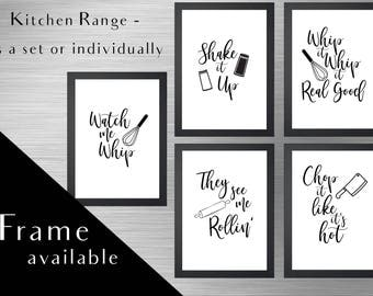 Kitchen print set.Kitchen wall art.Kitchen art.kitchen signs.Framed Print.chop it like its hot.Kitchen frame.Kitchen magnet.New home style.