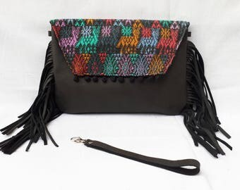 Black leather fringed clutch