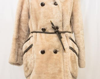 1960's  Faux Fur Double Breasted  3/4 Coat with Leather Trim and Belt. Davis of Boston