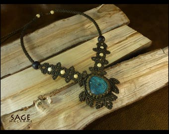 Macrame necklace Chrysocolla Gemstone