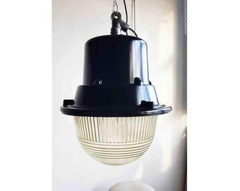 Giant Polish Space Age Industrial Factory Pendant Light Lamps, 1960s