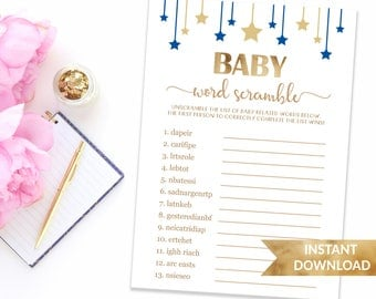 Navy blue Baby word scramble shower game | Scramble words puzzle game | Twinkle twinkle little star | Star baby shower baby boy blue games