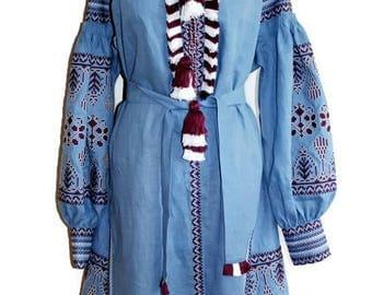 Vyshyvanka Dress Ukrainian boho Custom Embroidery Custom Bohemian Dresses Vishivanka Blue Linen Boho Dress Fashion Ukrainian Clothing Gift