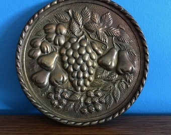 Mid Century Repousse Brass Fruit Wall Plate with Pocket