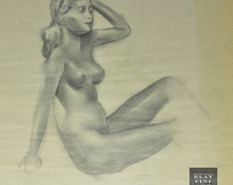 Mature Original WWII PIN-UP Nude Portrait Model  1940's Figure 20th Century Drawing Vintage Art Deco Old Vintage