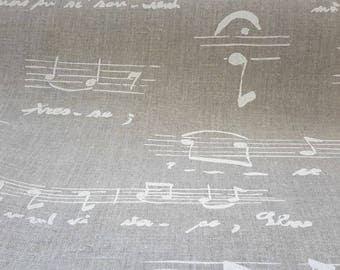 50cm x 140cm fabric - 100% linen music