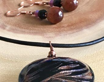 """32 MM Murano Glass Disc on 16"""" Black Leather Chord"""