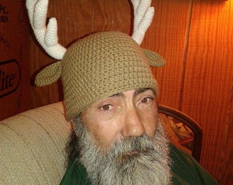 Crochet Beanie, Buck Beanie, Beanies for Hunters, Deer Antlers, Antlers Hat, Crochet Hat, Hats for Men, Beanies for Men, Deer Beanie, Beanie