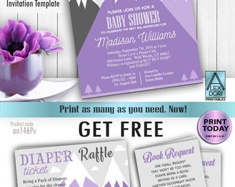 Mountain baby shower, Adventure awaits, hunter girl baby shower, purple gray Invitation Template, girl shower, FREE Diaper Raffle,book