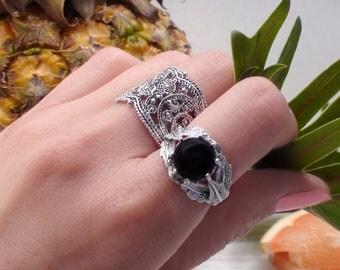 Silver Onyx Ring Black Jewelry Trending Ring Boho Silver Ring