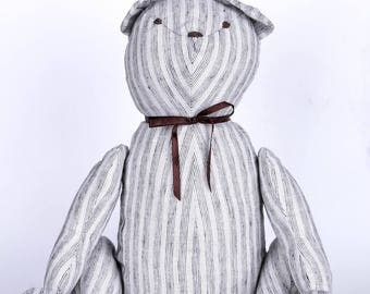Handmade stuffed Bear Toy white with light grey stripes 19 inches Loco Coco Gifts