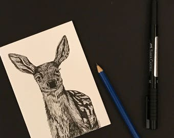 Fawn Memories-blank hand sketched card