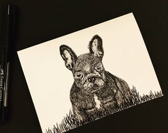 Hank-blank hand sketched card French bulldog