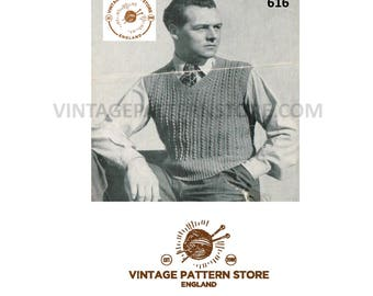 "Mans 1940s, V neck, rib cable, slipover sleeveless sweater vest, tank top - 36"" chest - Vintage PDF Knitting Pattern 616"