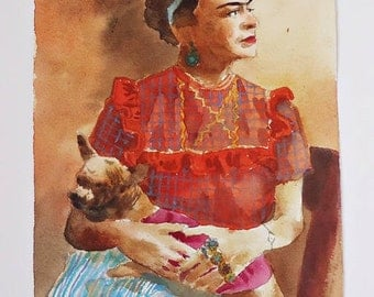 Frida Kahlo  Original  watercolor  painting