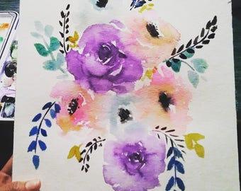 watercolor loose floral original painting