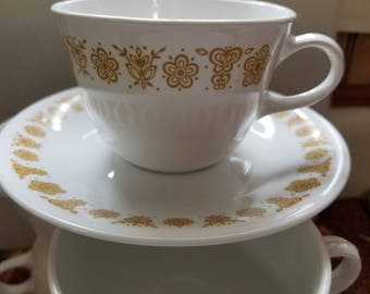 Vintage Butterfly Gold tea cup closed handle corning corelle pyrex mug tea set