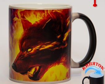 Color-changing cup «Fire and Water: Wolf and She-wolf»