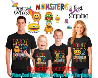 MONSTER Birthday BOY Theme Family BLACK Shirts For the Entire Family Mom Dad Brother and More T-shirts Long/ Short sleeve Raglan Monsters