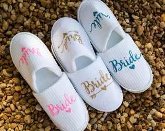 PERSONALIZED bridal slippers, Bridal Shower, bridesmaid slippers, bridesmaid gifts, wedding slippers, personalized slippers