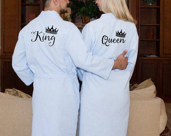 King and Queen Bath Robes Couple Robes Mr. Mrs. Robes His Her's Personalize Robes Honeymoon Gift Name Wedding Gifts Gift for Groom