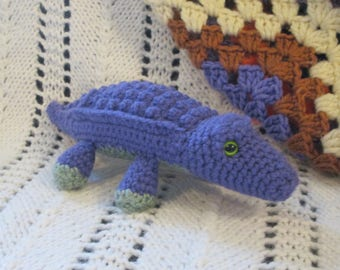 Purple and Green Handmade Crocheted Stuffed Alligator/Crocodile Child's Toy