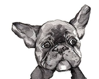 "Print ""French Bulldog"" black and white"