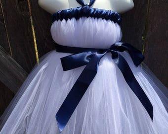 White Navy Tutu Dress
