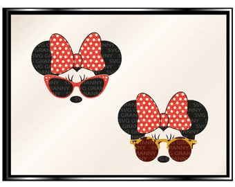 Disney minnie mouse, Minnie sunglasses, SVG DXF Png Cut File for Cricut & Silhouette Cameo, Vinyl Decal Heat Transfer Iron on