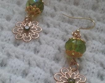 Peridot green filigree dangle earrings-gold ear wires-filigree flowers-peridot gemstone