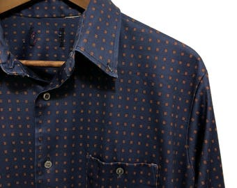 Retro Long Sleeve Button Down/ Vintage Pattern