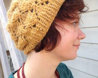 Supersoft Hand-Knit Yellow Foliage Hat