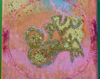 PINK MONEYFIRE prosperity painting with a magickal sigil, raises money energy for you