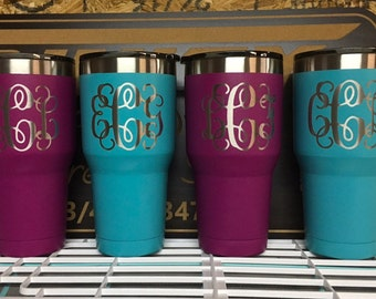 DOUBLE SIDED 30oz Custom powder coated and Laser Engraved Tumblers Personalized