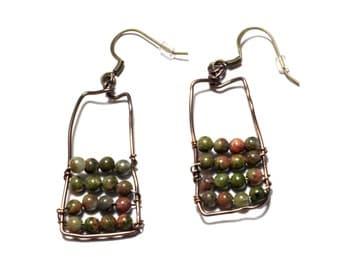 Abacus Earrings - Copper