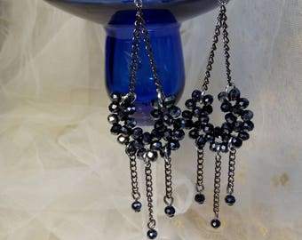 Black Chandelier Earrings, Beaded Earrings, Beaded Jewelry, Seed Bead Earrings, Dangle Earrings, Drop Earrings, Boho Earrings, Gift For Her