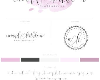 Logo Design, Photography Logo & Watermark, Logo Branding Package, Pink ,Watercolour Logo, Calligraphy Logo, Brand Kit 007