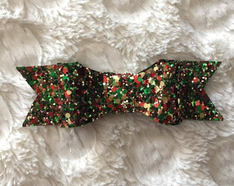 Christmas Bow//Glitter Bow//Green Bow