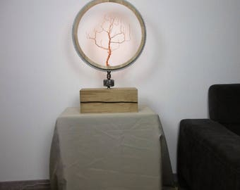 Metal art led lamp wood