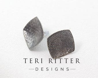 Anticlastic Square Textured Post Earrings