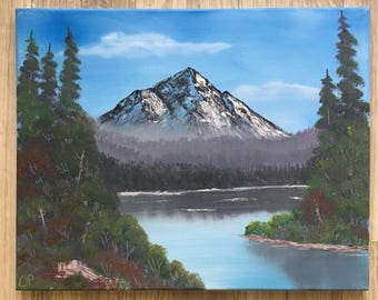 Original oil painting summer mountains bob ross style