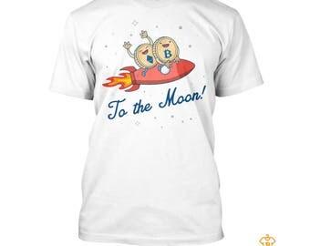Bitcoin T Shirt To the Moon BTC T-shirt Ethereum Litecoin Blockchain Cryptocurrency