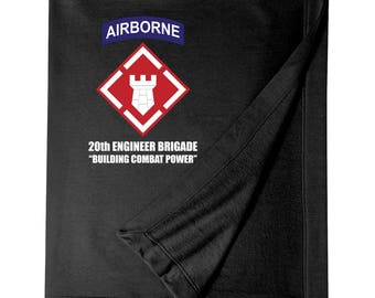 "20th Engineer Brigade (Airborne) ""Building Combat Power"" Embroidered Blanket-6090"